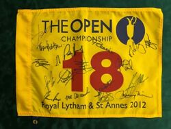 Open Golf Flag Signed 18 Champions Winners Autograph Aftal Coa Mcilroy Speith