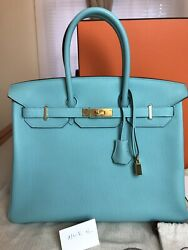 HERMES BIRKIN 35 TOGO BLEU ATOLL COLOR WITH GOLD HARDWARE. BRAND NEW!!
