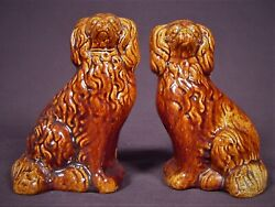 Very Rare 1800s Matched Pair Of Spaniel Dogs Rockingham Glaze Yellow Ware Mint