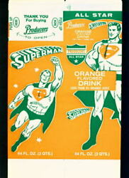 Superman Orange Drink 64 Oz Comic Ad Container 1960's Dairy Old Store Stock