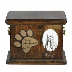 Pit Bull Terrier - Urn for dog's ashes with ceramic plate and description USA