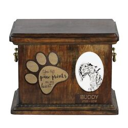Kerry Blue Terrier - Urn for dog's ashes with ceramic plate and description USA