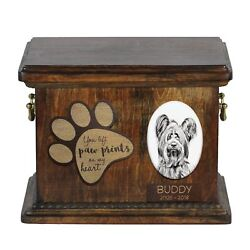 Skye Terrier - Urn for dog's ashes with ceramic plate and description USA