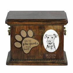Welsh Terrier - Urn for dog's ashes with ceramic plate and description USA
