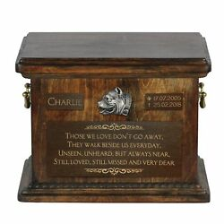 Pit Bull Terrier - Urn for dog's ashes with relief and sentence Art Dog USA