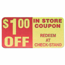 Coupon Labels 1.00 Off Labels Red/yellow - 2 L X 1 H 500 Per Roll
