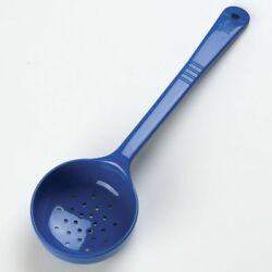 Carlisle 399314 Perforated Long Handle Portion Control Spoon 8 oz Blue