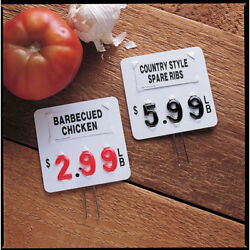 Meat Department Price Tags White Plastic 3-digit With Black Numbers - 3 3/4 L X