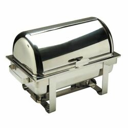 Hubert 8 Qt Full Size Faux Rolltop Stainless Steel Chafer - 23 5/8l X 13 3/4w