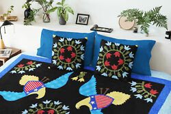 Very Unique Eagles And Floral Hand Applique Finished Quilt - Joyful Fun Quilt