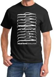 1964-2018 Ford Mustang Evolution Outline Design Tshirt NEW FREE SHIPPING