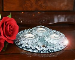 Set Of 3 Diamante Tealight Candle Holders amp; Crystal Mirror Tray Round Wedding