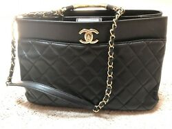 Authentic Chanel Carry Chic Gold Metal Handle Quilted Black Lambskin Bag Large