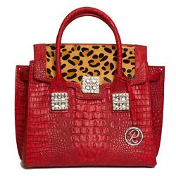 Raviani Satchel In Red Embossed Croco And Leopard Hair On Cow Leather W/crystal