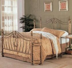 Queen Size Headboard and Footboard Set Only Antique Gold Vintage Metal Bed Decor