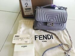 100% AUTH NEW FENDI DOUBLE SIDED QUILTED BLUE SLATE MICRO BAGUETTE SATCHEL BAG
