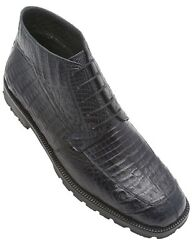 Los Altos Authentic Caiman Belly Skin Navy Blue Dress Casual Ankle Boot