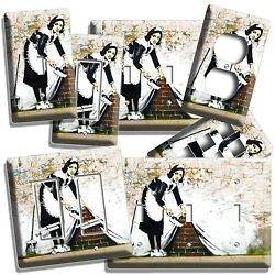BANKSY MAID BRICK WALL GRAFFITI LIGHT SWITCH OUTLET PLATES DORM ROOM HOME DECOR