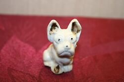 Vintage French Bulldog Miniature Porcelain Figurine Made in Japan White