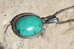 Huge Antique Turquoise And Silver Pendant And Chain Tibet Jewelry