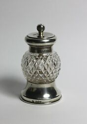 Sterling Silver Antique Cut Glass Pepper Mill 1910 William Hutton And Sons Ltd
