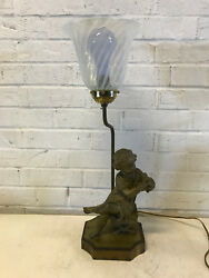 Antique Likely French Spelter Figural Lamp Young Girl Reading W/ Art Glass Shade