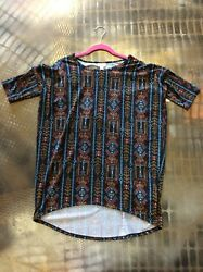 NWT XS Lularoe Irma tunic top black background tribal design Rare!