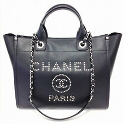 CHANEL Shopping Chain Shoulder Hand Tote Bag A57069 Black Woman Auth Mint Rare