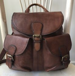 FOSSIL Vintage Reissue Whiskey Brown Leather Backpack Crossbody Book Bag Purse