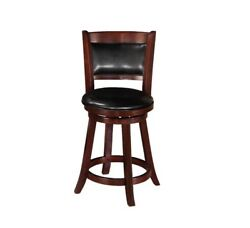 Traditional Counter Height Stool Set Of 6pc Round Black Faux Leather Seat And Back