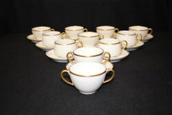 Antique 21 Pc. M. Redon And Elite Works Limoges Cups And Saucers White, Gold Trim