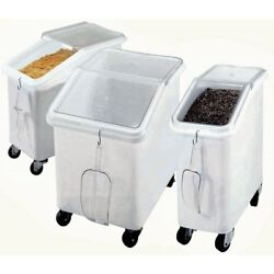Cambro 21 Gal White Plastic Slant Top Ingredient Bin With Clear Lid - 29 1/2l X