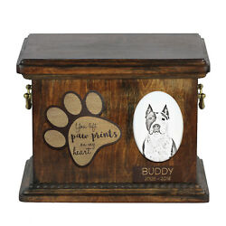 Amstaff dog exclusive urn with ceramic plate Art Dog CA