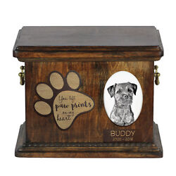 Border Terrier dog exclusive urn with ceramic plate Art Dog CA