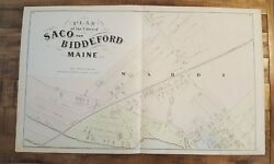 Antique Map/plan Of Saco And Biddeford, Maine - / York County, Me - 1872 Atlas