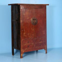 Large 19th Century Antique Red Lacquered Cabinet Armoire From Shanxi China