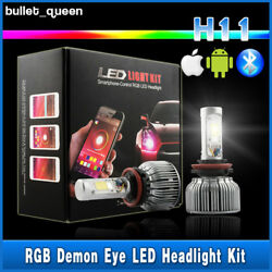 H11 H8 60W CREE COB LED Headlight Kit + RGB Demon Eyes Bluetooth Control 2 in 1