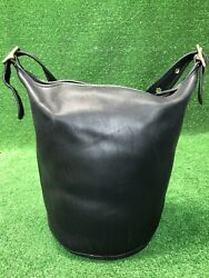 COACH Vtg XLarge Black Leather Bucket Duffle Feed Sac Shoulder Bag 9085 Rare