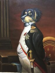ORIGINAL Mixed Terrier DOG OIL PAINTING CANVAS as OFFICER UNSTRETCHED