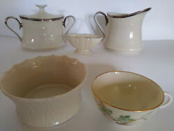 Lot Of 5 Pieces Lenox Moonspun Sugar Creamer Westwind Woodland Must See