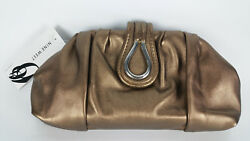 NEW Nine West Bronze Clutch Purse Handbag Evening Bag Kiss Lock Closure