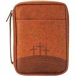 Three Crosses Brown 6 X 9 Inch Leather Like Vinyl Bible Cover Case Large