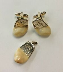 Elk Ivory Teeth 14k Yellow Gold With Gold Toned Cufflinks Pendant Set