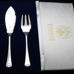 Faberge Imperial Court Fish Serving Fork And Knife Sterling Silver In Gift Box