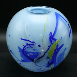 Handcrafted Swedish Glass Vase - Round One-of-a-kind By Willy