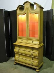 Baker Furniture 1960's Handpainted Provincial Display Cabinet On Bombe Chest
