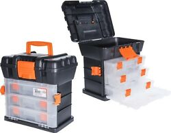 Large Plastic Tool Box With Carry Handle Storage Case Organiser Compartments