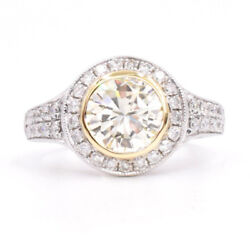 GIA Cer 2.24ct Light Yellow Round Brilliant Cut Diamod Engagement Ring, 4.5g