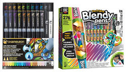 Chameleon 22 Piece Pen Set w Deluxe Kidz Blendy Airbrush Markers Family Bundle