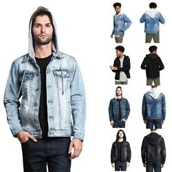 Victorious Menand039s Distressed With Removable Hoody Wash Denim Jacket Dk109